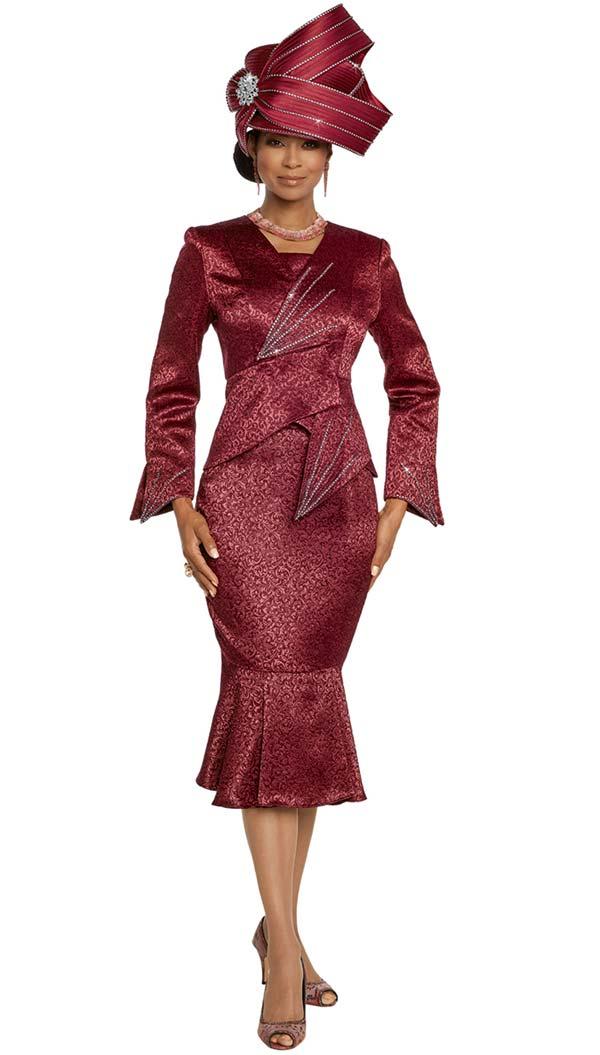 Donna Vinci 5663 Flounce Hem Skirt Suit With Rhinestone Embellished Pointed Wrap Design Jacket