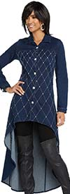 Donna Vinci DV Jeans 8423 Womens Stretch Denim High Low Tunic With Rhinestone Trimmed Decorative Stitching