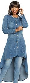 Donna Vinci DV Jeans 8425 Womens Stretch Denim High Low Tunic With Rhinestone Trimmed Neckline & Buttons