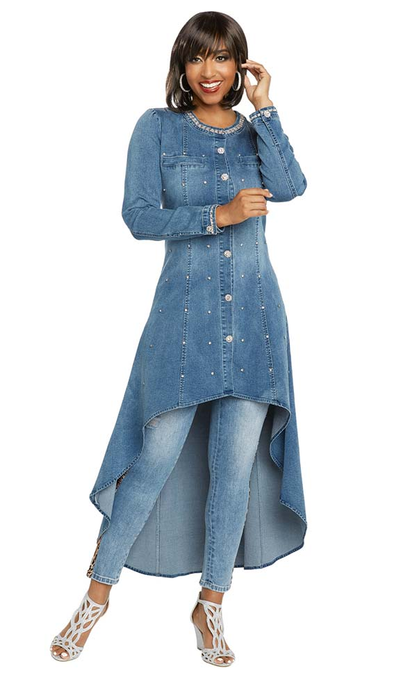 Donna Vinci DV Jeans 8425 Womens Stretch Denim High Low Tunic With Rhinestone Trimmed Neckline & Buttons