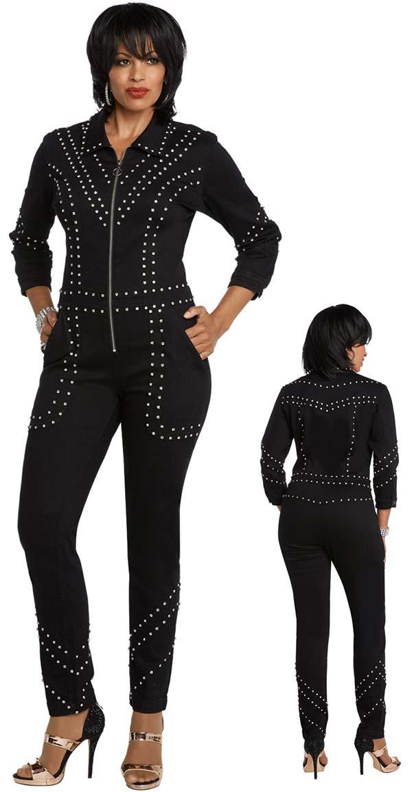 Donna Vinci DV Jeans 8431 Womens Stretch Denim Pant Suit With Rhinestone Trims