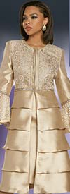 Donna Vinci 11876 Ladies Church Dress With Embellished Long Tiered Flounce Cuff Sleeve Jacket