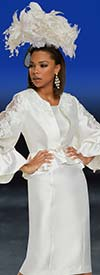 Donna Vinci 11877 Ladies Church Dress Set With Embroidered Lace Peekaboo Flounce Cuff Sleeve Jacket