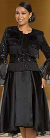 Donna Vinci 11878 Womens Silk Look Dress & Organza Bell Sleeve Jacket With Fringe Trims