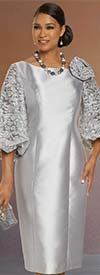 Donna Vinci 11879 Womens Sheath Dress With Embroidered Lace Puff Sleeves
