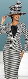 Donna Vinci 11882 Womens Three Piece Skirt Suit In Multi Stripe Design With Rhinestone Trim