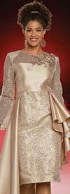 Donna Vinci 11885 Silk Look Fabric Dress With Embroidered Organza Design Featuring High-Low Side Peplum Waist
