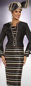 Donna Vinci 11886 Multi-Stripe Design Dress With Roll Cuff Jacket Embellished With Silver Gold & Black Stones