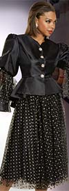 Donna Vinci 11887 Womens Polka Dot Church Suit With Silk Look Organza Flounce Sleeve Peplum Jacket