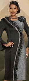 Donna Vinci 11889 Womens Sheath Dress In Soft Stretch Scuba Fabric Trimmed With Feathers & Black Stones