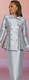 Donna Vinci 11892 Womens Skirt Suit With Plaid Sequin Mock Bolero Peplum Jacket