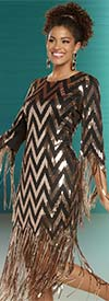 Donna Vinci 11893 Womens Sequin Dress In Chevron Pattern With Long Fringe Trims