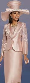 Donna Vinci 11894 Womens Embellished Church Suit With Novelty Embroidered Lace Design Peak Lapel Jacket