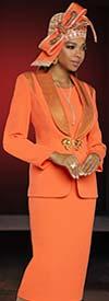 Donna Vinci 11895 Womens Peach Skin Fabric Church Suit With Gold Rhinestone Trimmed Shawl Lapel Jacket