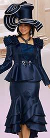 Donna Vinci 11896 Womens Church Suit With Lurex Trimmed Shoulder Feature On Peplum Jacket & Tiered Flounce Skirt