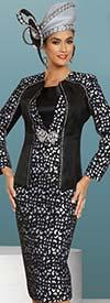 Donna Vinci 11897 Three Piece Church Suit With Geometric Pattern Design And Rhinestone Trims