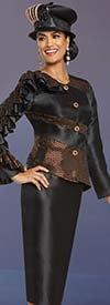 Donna Vinci 11898 Ladies Jacket And Skirt Suit With Ruffle Sleeve Feature And Polka Dot Gold Trim