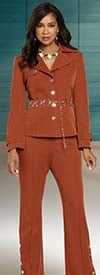 Donna Vinci 11899 Womens Stretch Peach Skin Jacket & Pant Suit With Gold Chain Belt