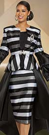 Donna Vinci 11905 Womens Multi-Stripe Design High-Low Bell Cuff Jacket And Skirt Suit
