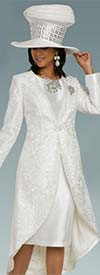 Donna Vinci 11906 Womens Church Dress Suit In Embroidered Lace And Silk Look Fabric With High-Low Duster Jacket