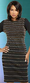 Donna Vinci 11907 Womens Half Sleeve Stretch Knit Dress Trimmed In Stones & Pearls