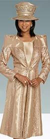 Donna Vinci 11908 Womens Dress Set With Off-Shoulder Collar Style Duster Jacket