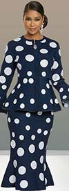 Donna Vinci Knit 13304 Womens Bell Cuff Sleeve Peplum Jacket And Trumpet Skirt Suit In Polka Dot Knitted Yarn Fabric