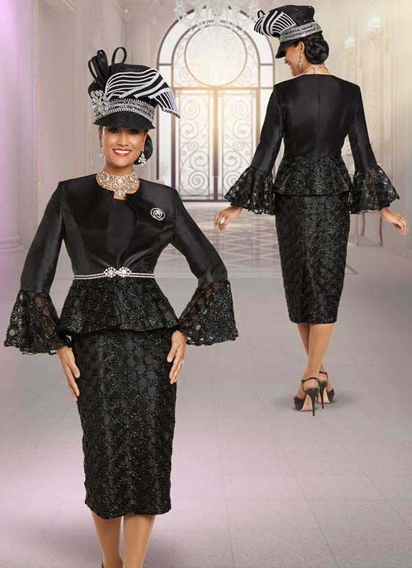 Donna Vinci 5701 Ladies Embellished Church Suit With Novelty Cut-Out Design Skirt And Flounce Cuff Sleeve Jacket