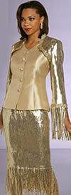 Donna Vinci 5703 Womens Church Suit With Sequin Design Trimmed With Gold Guipure Lace And Fringes