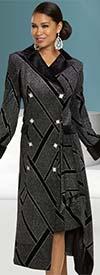 Donna Vinci 5704 Novelty Velvet Fabric Womens Peak Lapel Striped Design Dress