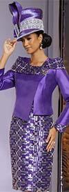 Donna Vinci 5707 Exclusive Sequined Embroidery Design Womens Dress & Wrap Jacket Set With Off Shoulder Portrait Collar
