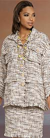 Donna Vinci 5709 Womens Boucle Fabric Jacket And Skirt Set With Fringed Edges