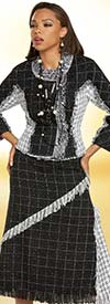 Donna Vinci 5711 Ladies Boucle Fabric Jacket And Skirt Suit With Fringed Edges