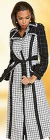 Donna Vinci 5712 Womens Boucle Fabric Coat Dress With Fringed Edges And Sash