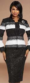Donna Vinci 5713 Bouclé Fabric Womens Sleeveless Sheath Dress Set With Guipure Lace Trimmed Jacket
