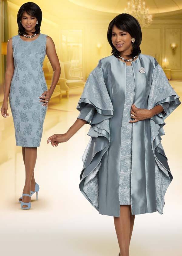 Donna Vinci 5715 Floral Pattern Sleeveless Church Dress With Layered Design Duster Jacket