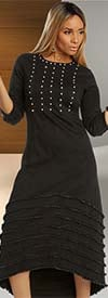 Donna Vinci DV Jeans 8432 Rhinestone Embellished Womens Stretch Denim Dress With Horizontal Details
