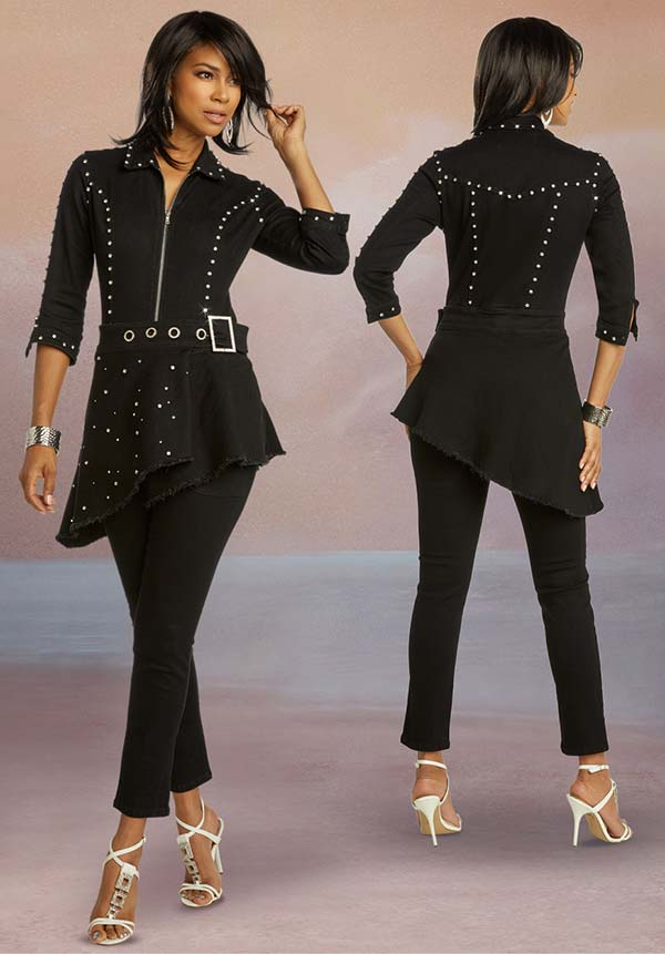Donna Vinci DV Jeans 8433 Rhinestone Embellished Womens Stretch Denim Jumpsuit With Tilted Hem