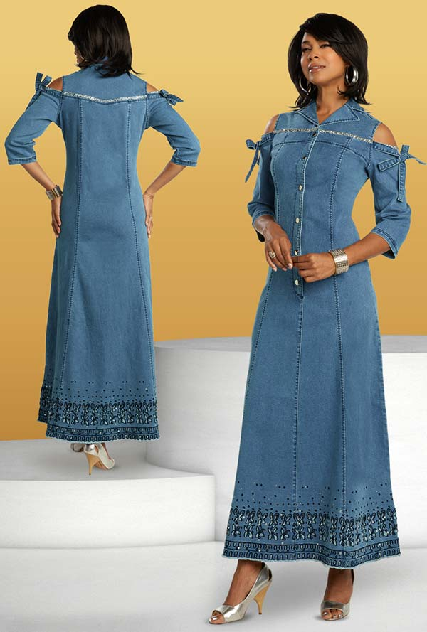 Donna Vinci DV Jeans 8435 Rhinestone Trimmed Ladies Long Stretch Denim Dress With Cold Shoulder Effect And Embroidery Details