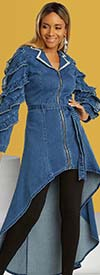 Donna Vinci DV Jeans 8436 Womens Stretch Denim Notch Lapel Tunic With Ruffle Sleeves And Sash