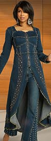Donna Vinci DV Jeans 8437 Womens Embellished Stretch Denim Duster Jacket And Pant Suit With Frayed Edges