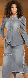 Donna Vinci DV Jeans 8440 Womens Embellished Stretch Denim Peplum Jacket And Skirt Suit With Frayed Edge Design