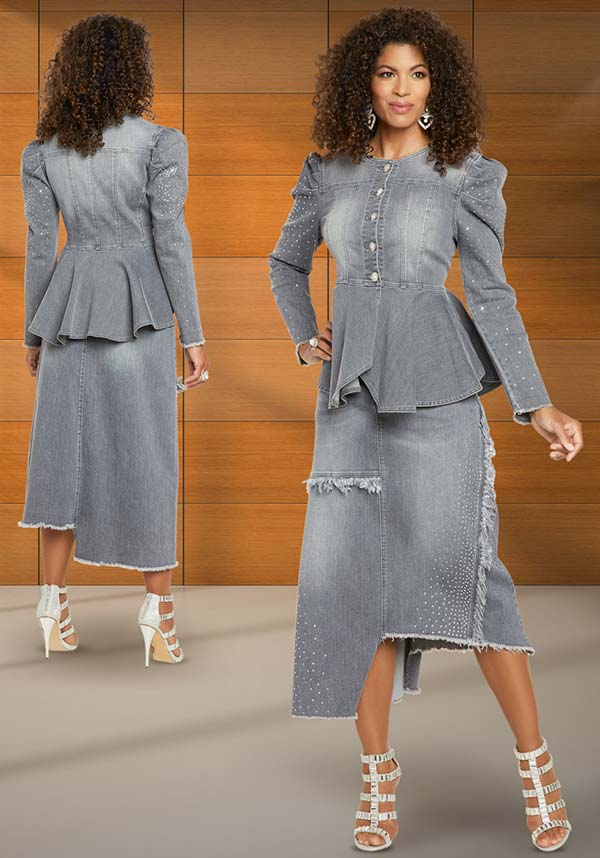Womens Embellished Stretch Denim Peplum Jacket And Skirt Suit