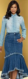 Donna Vinci DV Jeans 8441 Womens Stretch Denim Skirt With Frayed Edges And Rhinestone Trim