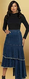 Donna Vinci DV Jeans 8442 Womens Stretch Denim Asymmetrical Skirt With Frayed Edges