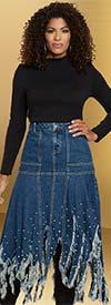 Donna Vinci DV Jeans 8443 Ladies Stretch Denim Skirt With Frayed Fringes
