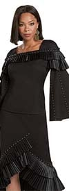 Donna Vinci 11940-Black - Stretch Fabric Bell Sleeve Womens Skirt Suit With Pleated Leatherette Trim