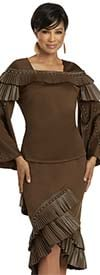 Donna Vinci 11940-Brown - Stretch Fabric Bell Sleeve Womens Skirt Suit With Pleated Leatherette Trim