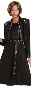 Donna Vinci 11941-Black - Dress And Jacket Set In Faux Leather Trimmed Peach Skin Fabric With Gold Hardware Design