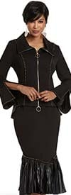 Donna Vinci 11942-Black - Stud Accent Stretch Fabric Suit With Pleated Leatherette Flounce Skirt And Peplum Jacket